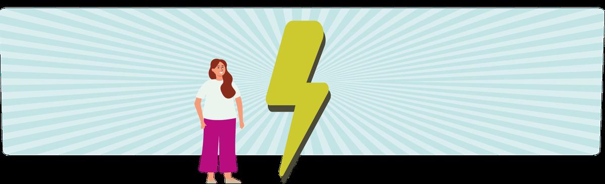 Eine junge Frau und ein Blitz als Symbolbild für Energizer