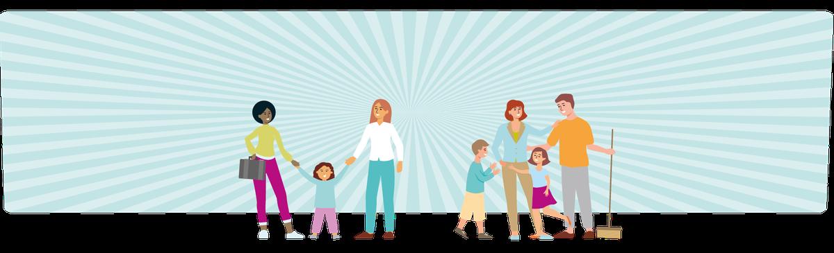 Eine Regenbogenfamilie mit zwei Müttern und eine Familie mit einem Vater, der den Haushalt macht, und einer arbeitenden Mutter als Symbolbild für Vereinbarkeit und Partnerschaftlichkeit