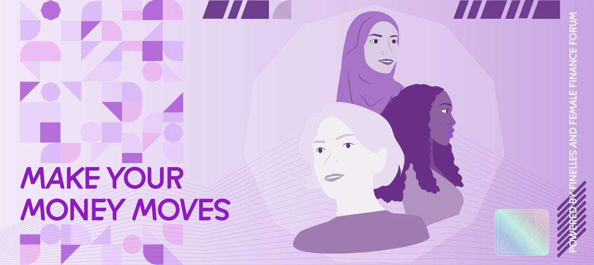 Make Your Money Moves Ankündigung, lila Hintergrund und drei Frauen