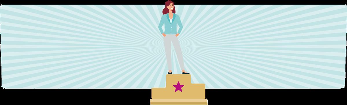 Frau steht auf einem Siegerpodest als Symbolbild für Wirtschaftliche Unabhängigkeit;