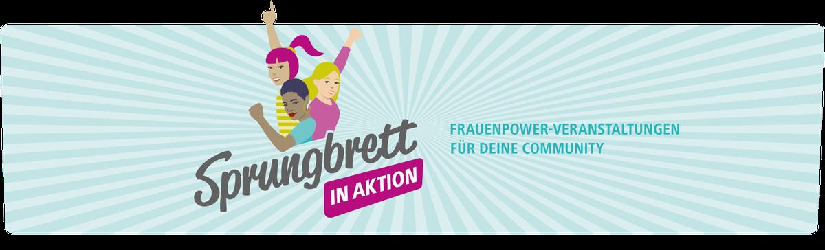 """Drei Power-Frauen sind das """"Sprungbrett in Aktion""""-Logo"""