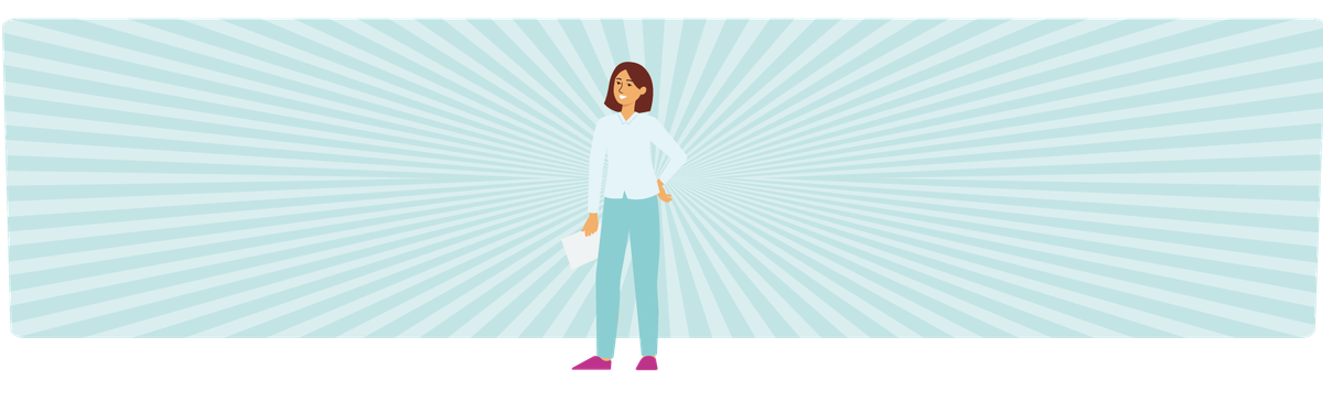 """Eine selbstbewusste junge Frau mit einem Zettel in der Hand als Symbolbild für das """"Sprungbrett in Aktion""""-Glossar"""