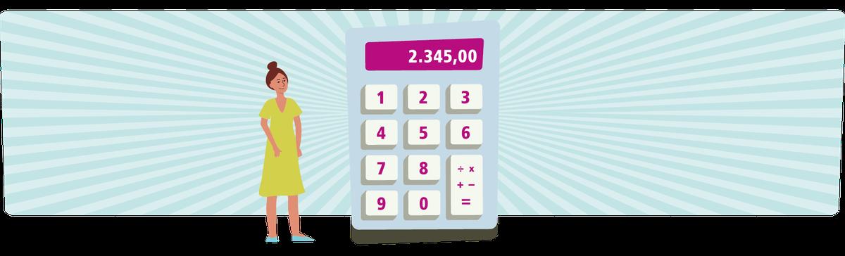 Frau mit riesigem Taschenrechner als Symbolbild für Frauen und Finanzen